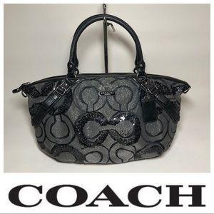 COACH 15940 Madison Black Sequin Op Art AUTHENTIC